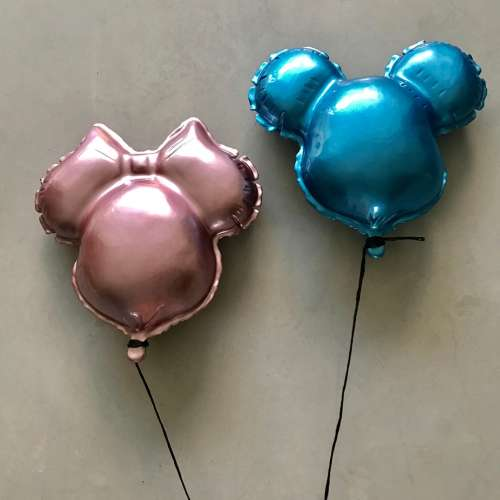 Metallic Pink and Blue Mickey and Minnie Balloon Sculpture